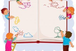 szczęśliwe-dzieci-wspolnie-narysują-dużą-kartkę-książki_1441-193